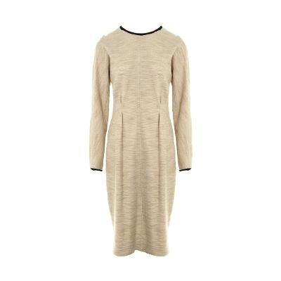color trimming pin-ruck dress ivory